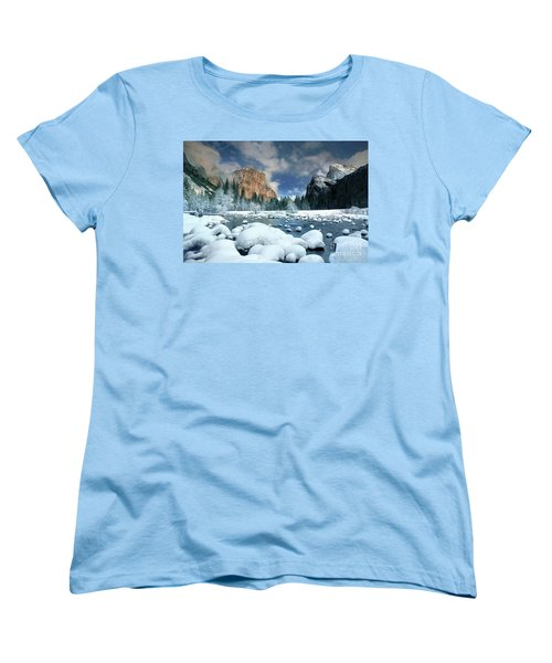 Women's T-Shirt (Standard Cut) featuring the photograph Winter Storm In Yosemite National Park by Dave Welling