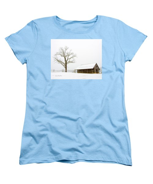 Women's T-Shirt (Standard Cut) featuring the photograph Winter Storm On The Farm by George Randy Bass