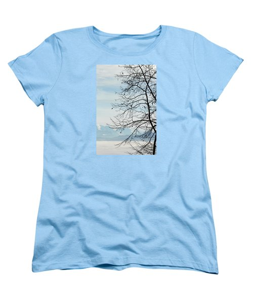 Winter Tree And Alps Mountains Upon The Fog Women's T-Shirt (Standard Cut) by Elenarts - Elena Duvernay photo