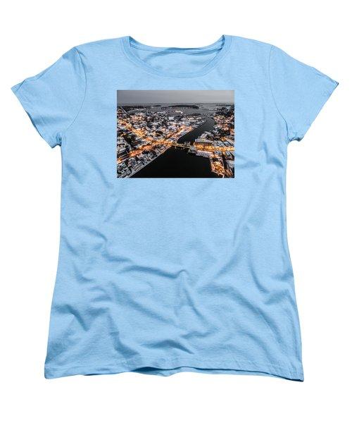 Winter Twilight In Mystic Connecticut Women's T-Shirt (Standard Cut) by Petr Hejl