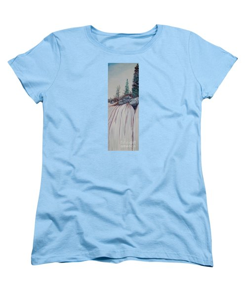 Women's T-Shirt (Standard Cut) featuring the painting Winter Waterfall by Marilyn  McNish