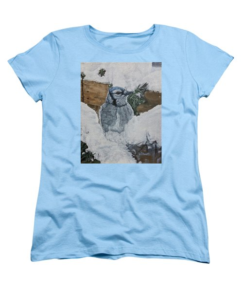 Women's T-Shirt (Standard Cut) featuring the painting Winters Greeting by Wendy Shoults