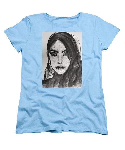 Women's T-Shirt (Standard Cut) featuring the painting Wintertime Sadness by Jarko Aka Lui Grande