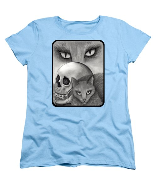 Women's T-Shirt (Standard Cut) featuring the drawing Witch's Cat Eyes by Carrie Hawks