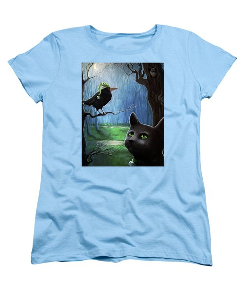 Women's T-Shirt (Standard Cut) featuring the painting Wit's End - Winter Nightime Forest by Linda Apple