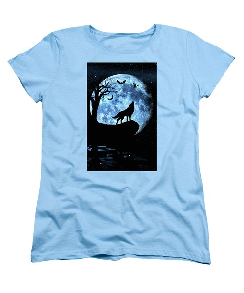 Wolf Howling At Full Moon With Bats Women's T-Shirt (Standard Cut) by Justin Kelefas