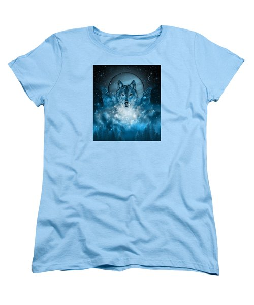 Wolf In Blue Women's T-Shirt (Standard Cut) by Bekim Art