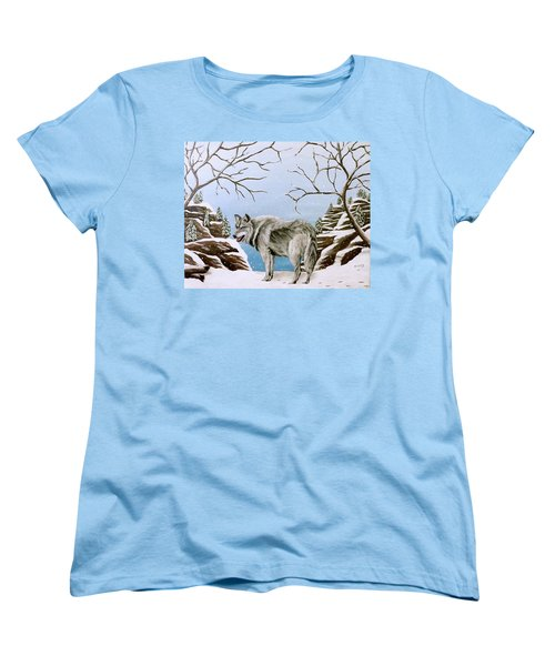 Wolf In Winter Women's T-Shirt (Standard Cut) by Teresa Wing