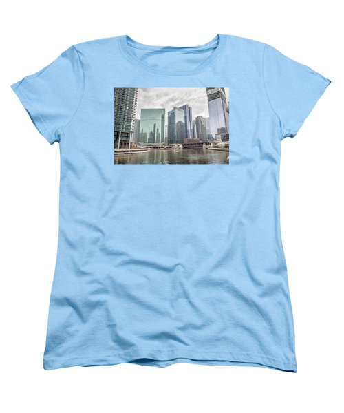 Women's T-Shirt (Standard Cut) featuring the photograph Wolf Point Where The Chicago River Splits by Peter Ciro