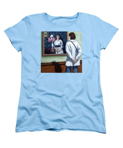 Women's T-Shirt (Standard Cut) featuring the painting Woman At Art Museum Figurative Painting by Linda Apple
