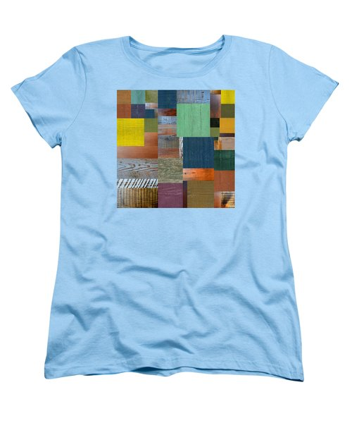Women's T-Shirt (Standard Cut) featuring the digital art Wood With Teal And Yellow by Michelle Calkins