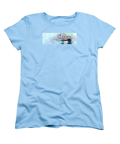 Women's T-Shirt (Standard Cut) featuring the painting Wooden Boat Blues by LeAnne Sowa