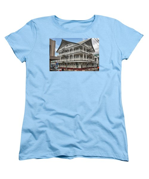 Wooden House In Colonial Style In Downtown Suriname Women's T-Shirt (Standard Cut) by Patricia Hofmeester