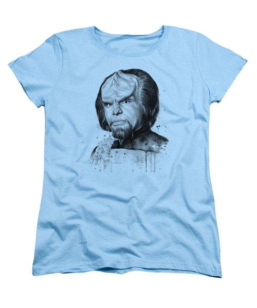 Worf Portrait Watercolor Star Trek Art Women's T-Shirt (Standard Cut) by Olga Shvartsur