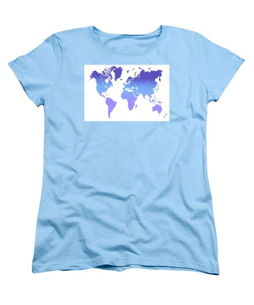 Women's T-Shirt (Standard Cut) featuring the photograph World Map Abstract. Blue Purple by Jenny Rainbow