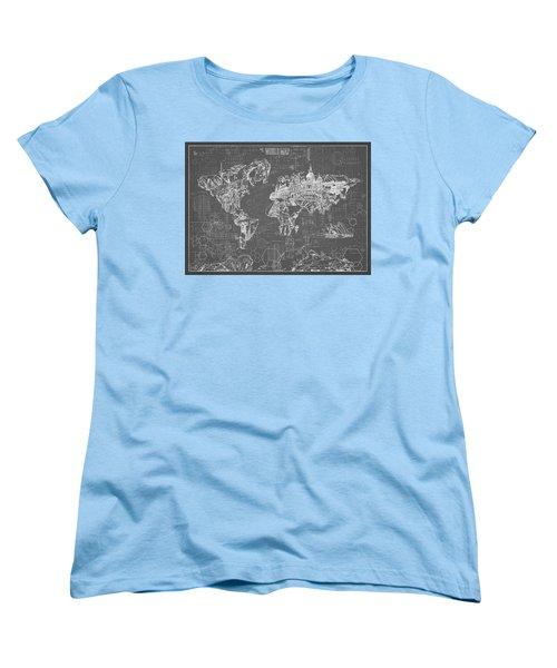 Women's T-Shirt (Standard Cut) featuring the digital art World Map Blueprint 5 by Bekim Art