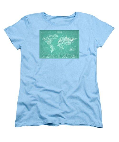 Women's T-Shirt (Standard Cut) featuring the digital art World Map Blueprint 7 by Bekim Art