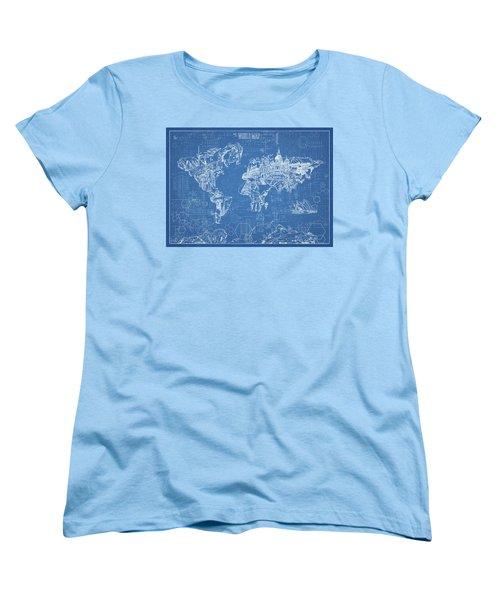 Women's T-Shirt (Standard Cut) featuring the digital art World Map Blueprint by Bekim Art