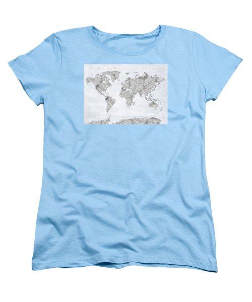 Women's T-Shirt (Standard Cut) featuring the digital art World Map Music 10 by Bekim Art