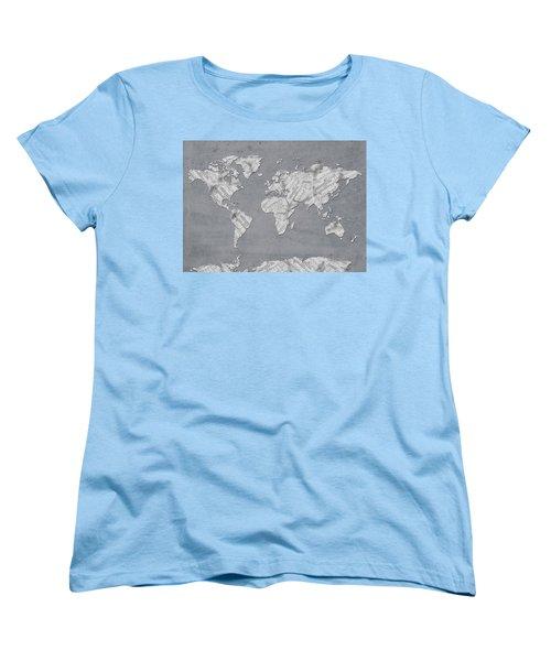Women's T-Shirt (Standard Cut) featuring the digital art World Map Music 11 by Bekim Art