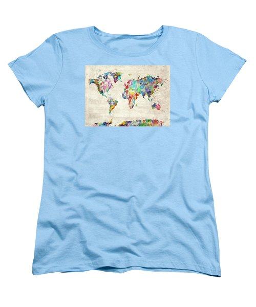 Women's T-Shirt (Standard Cut) featuring the digital art World Map Music 12 by Bekim Art