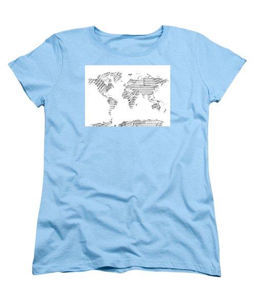 Women's T-Shirt (Standard Cut) featuring the digital art World Map Music 8 by Bekim Art