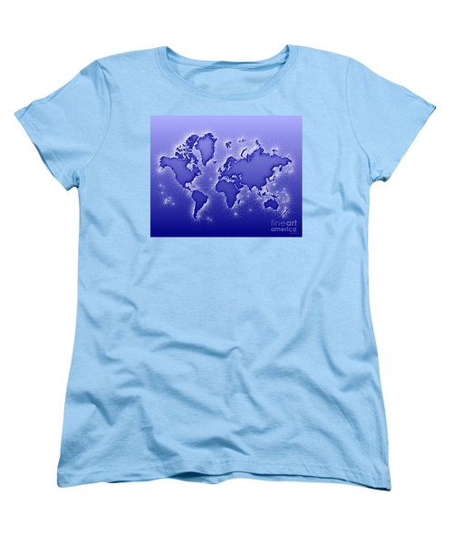 World Map Opala In Blue And White Women's T-Shirt (Standard Cut) by Eleven Corners