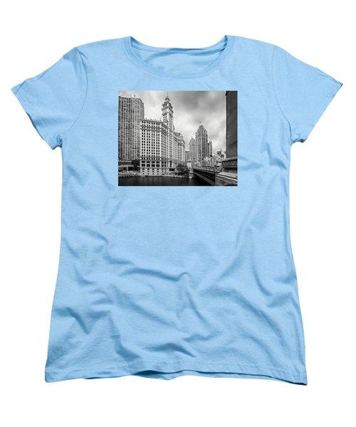 Women's T-Shirt (Standard Cut) featuring the photograph Wrigley Building Chicago by Adam Romanowicz