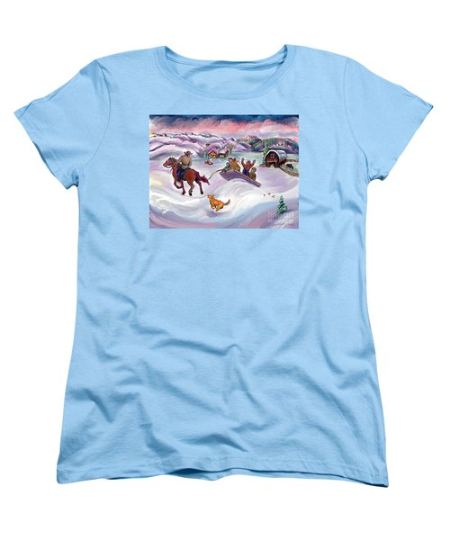 Wyoming Ranch Fun In The Snow Women's T-Shirt (Standard Cut) by Dawn Senior-Trask