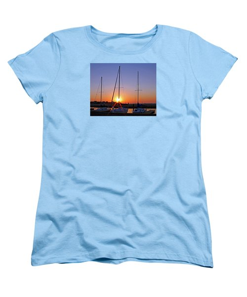 Women's T-Shirt (Standard Cut) featuring the photograph Yacht Club Sunrise by Judy Vincent