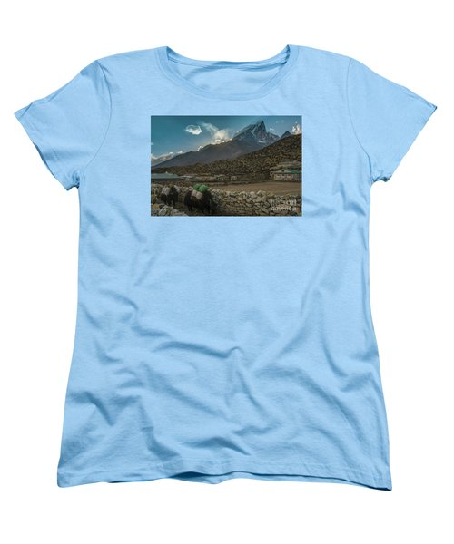 Women's T-Shirt (Standard Cut) featuring the photograph Yaks Moving Through Dingboche by Mike Reid