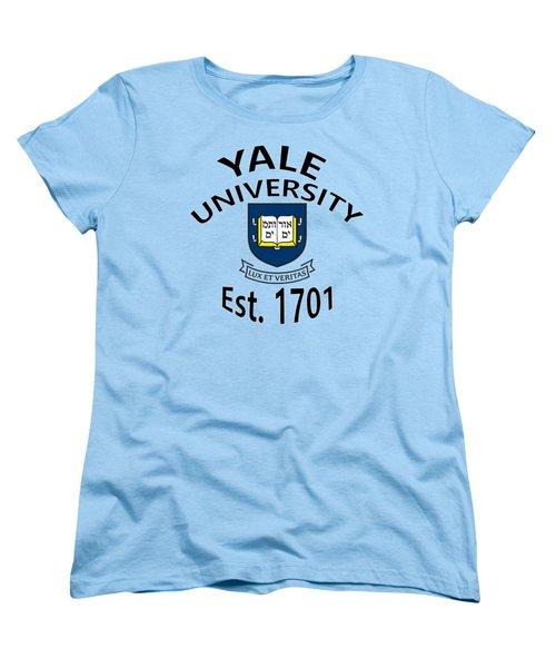 Women's T-Shirt (Standard Cut) featuring the digital art Yale University Est 1701 by Movie Poster Prints