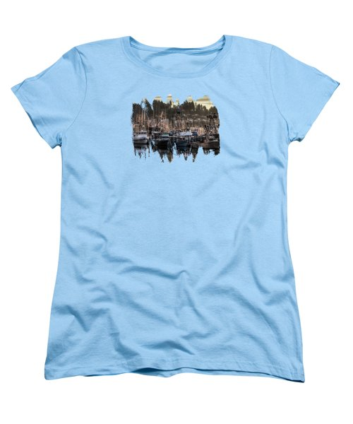 Yaquina Bay Boat Basin At Dawn Women's T-Shirt (Standard Cut) by Thom Zehrfeld