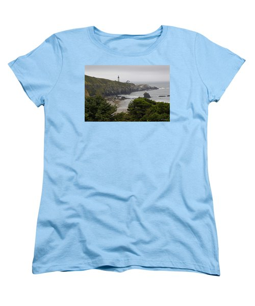 Yaquina Head Lighthouse View Women's T-Shirt (Standard Cut) by Mick Anderson