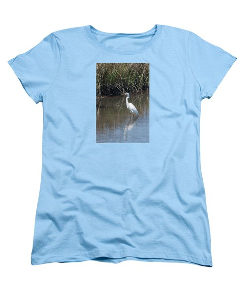 Yawkey Wildlife Refuge - Great White Egret II Women's T-Shirt (Standard Cut) by Suzanne Gaff