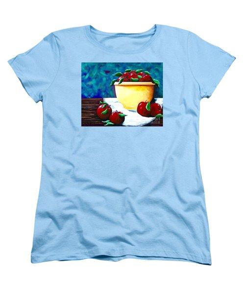 Yellow Bowl Of Apples Women's T-Shirt (Standard Cut) by Jennifer Lake