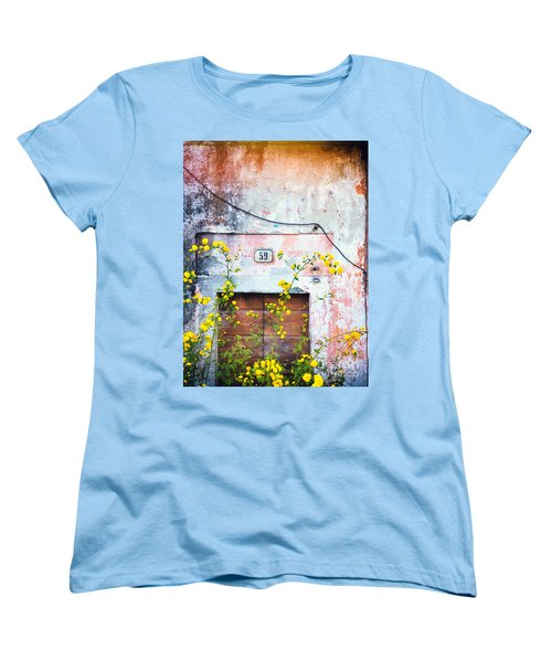 Women's T-Shirt (Standard Cut) featuring the photograph Yellow Flowers And Decayed Wall by Silvia Ganora