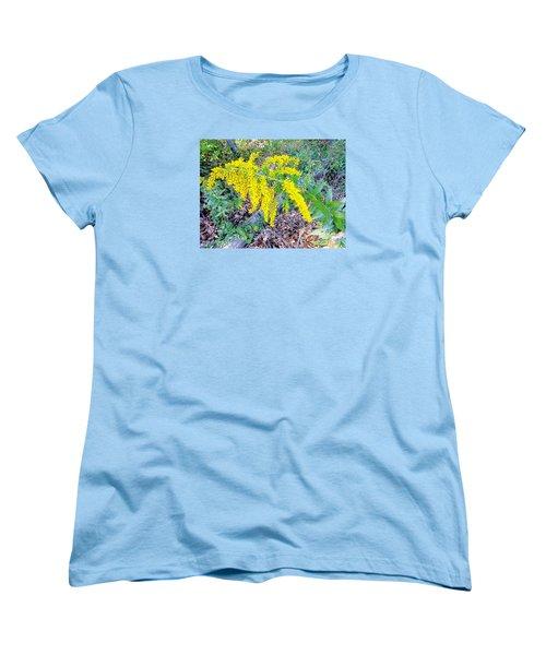Yellow Flowers On Green Women's T-Shirt (Standard Cut) by Craig Walters