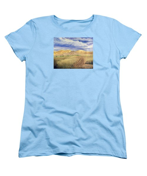 Yellow Hills Of Jensen Women's T-Shirt (Standard Cut) by Sherril Porter
