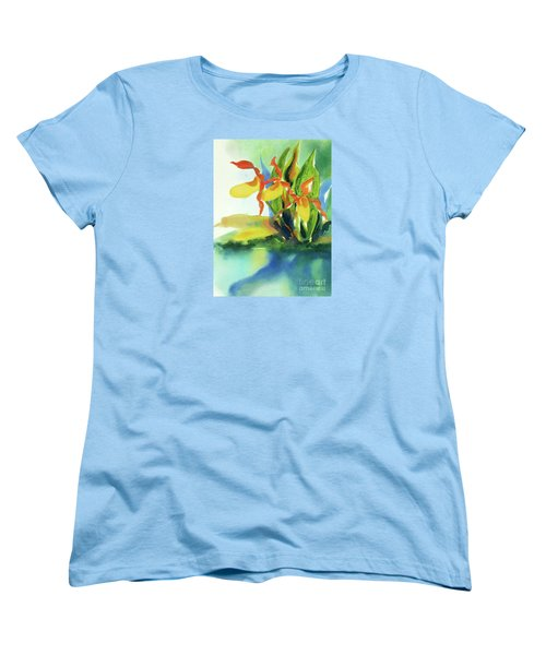 Women's T-Shirt (Standard Cut) featuring the painting Yellow Moccasin Flowers by Kathy Braud