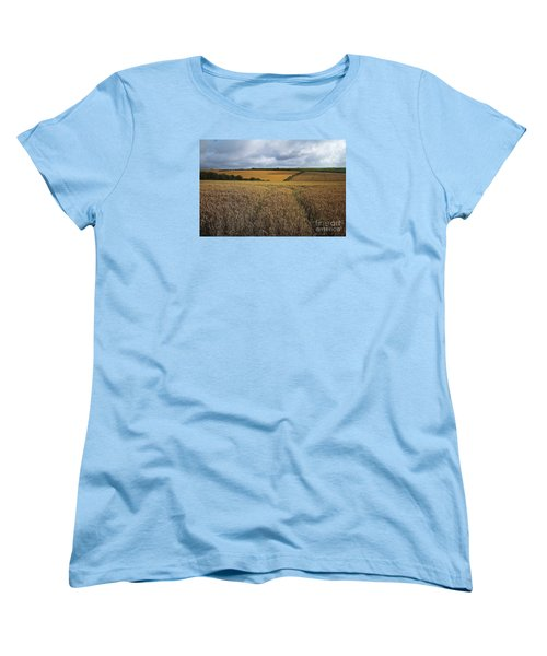 Yelow Fields And Fluffy Clouds  Women's T-Shirt (Standard Cut) by Gary Bridger