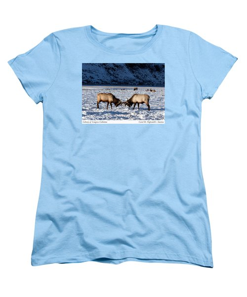 Young Bull Elk In Jackson  Hole In Wyoming Women's T-Shirt (Standard Cut) by Carol M Highsmith