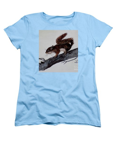 Women's T-Shirt (Standard Cut) featuring the painting Young Squirrel by Judy Kirouac