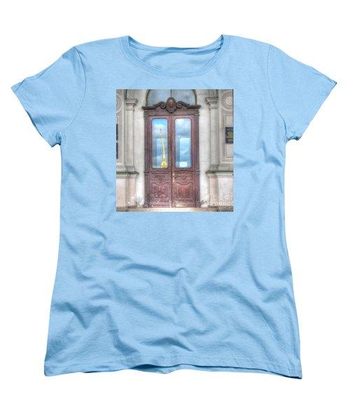 Women's T-Shirt (Standard Cut) featuring the pyrography Yury Bashkin Old Door by Yury Bashkin