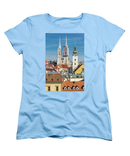 Zagreb Cathedral And St. Mary's Church Women's T-Shirt (Standard Cut) by Steven Richman