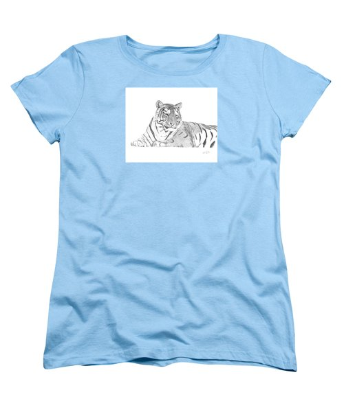Women's T-Shirt (Standard Cut) featuring the drawing Zarina A Siberian Tiger by Patricia Hiltz