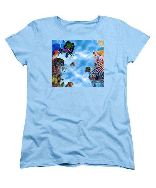 Zebras Birds And Butterflies Good Morning My Friends Women's T-Shirt (Standard Cut) by Saundra Myles