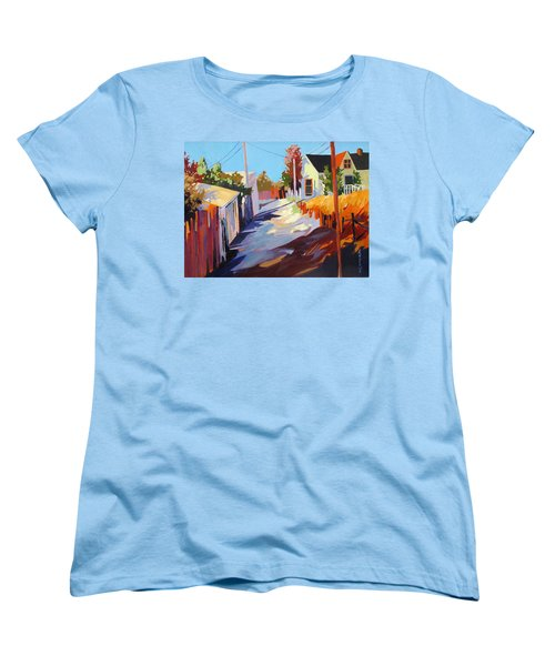 Women's T-Shirt (Standard Cut) featuring the painting Zig Zag Shadows by Rae Andrews