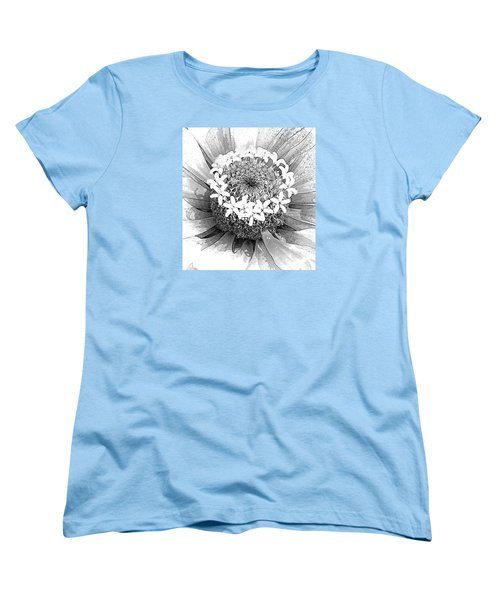 Women's T-Shirt (Standard Cut) featuring the photograph Zinnia, Black And White by Jeanette French
