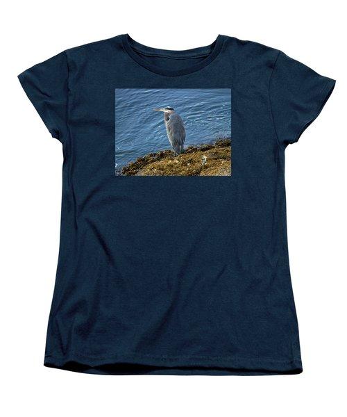 Women's T-Shirt (Standard Cut) featuring the photograph  Blue Heron On A Rock by Eti Reid